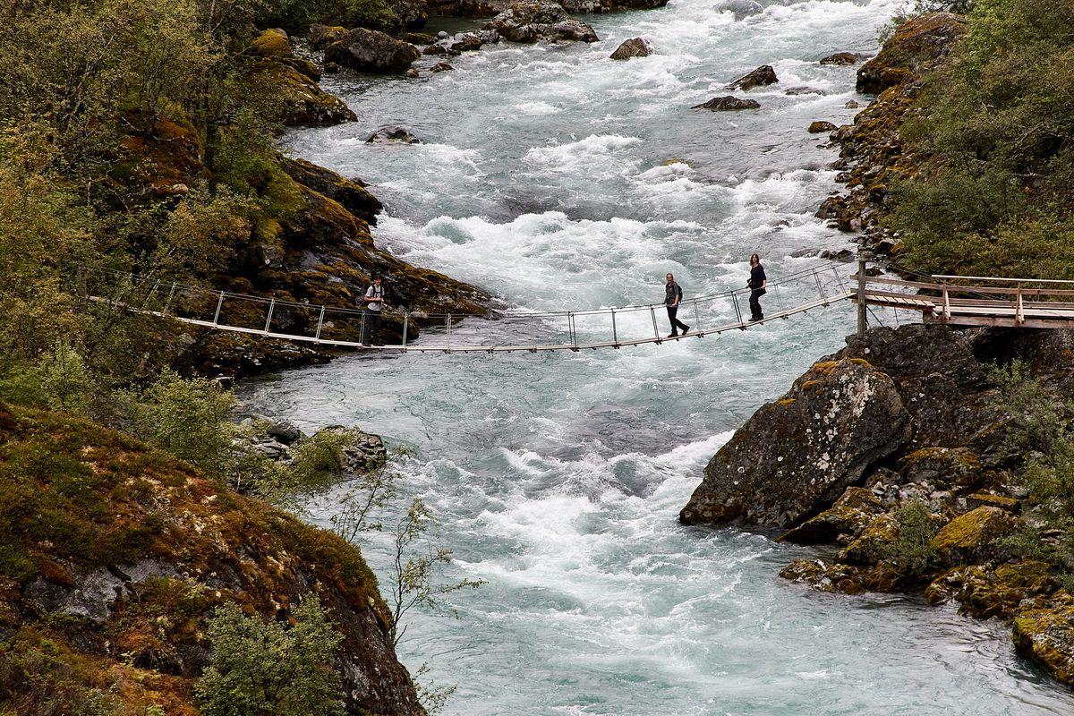 Hängebrücke am Weg zum Vettifossen