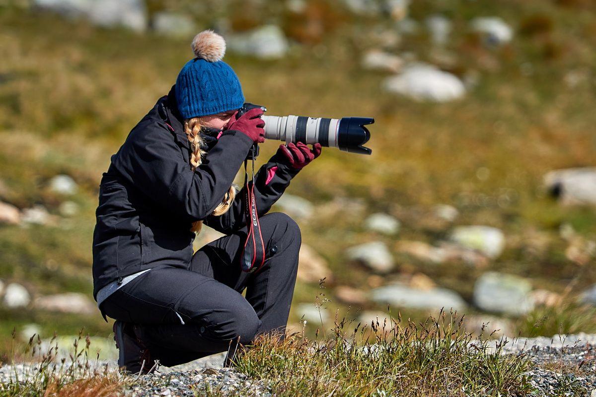 Saskia bei der Tierfotografie