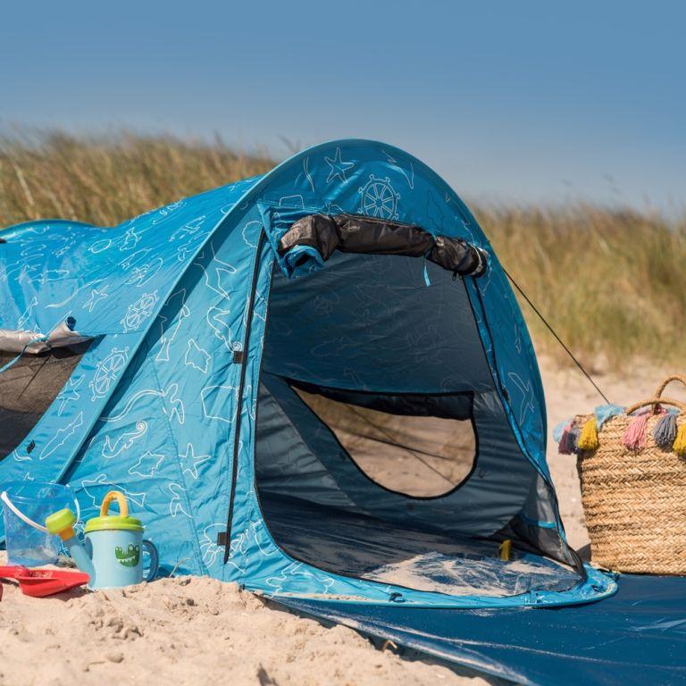 Verschließbare Strandmuschel mit hohem Sonnenschutz und Insektenschutz