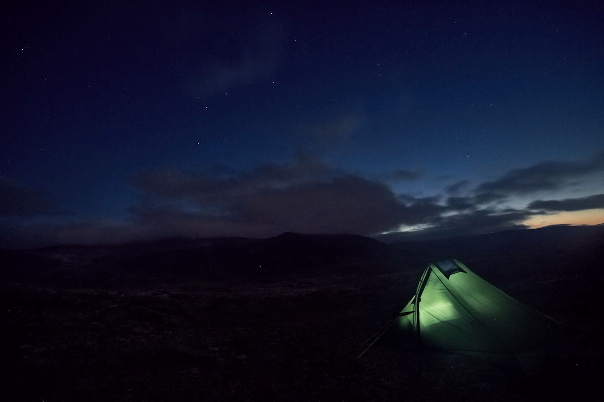 Zelt Trek Escape bei Nacht im Dovrefjell